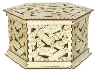 Шкатулка деревянная Конфеты 12,3*23*20 см