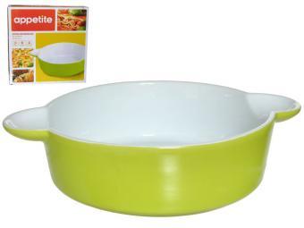 Форма керамическая 24*18,5*6см круглая зеленая тм Appetite
