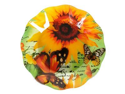 Салатник стеклянный Подсолнух с бабочками волна