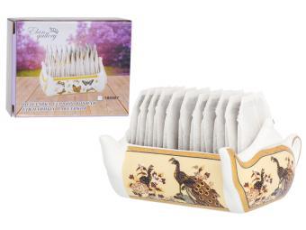 Подставка сервировочная для чайных пакетиков 100мл Чайник Павлин на бежевом 630082