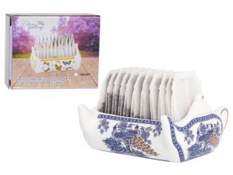 Подставка сервировочная для чайных пакетиков 100мл Чайник Павлин синий 630083