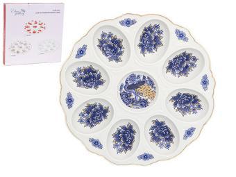 Тарелка для фаршированных яиц Павлин синий 630117