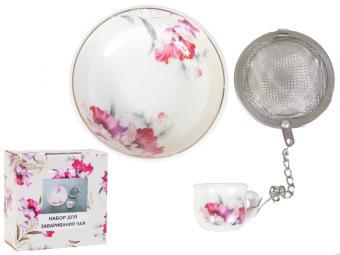 Набор для заваривания чая Серебристый мак с металлическим ситом