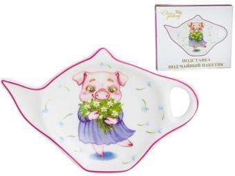 Подставка под чайный пакетик ''Свинка с ландышами''