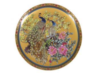 Тарелка декоративная Павлин на золотом
