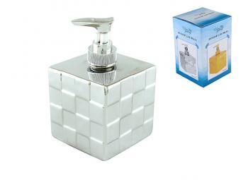 Емкость для жидкого мыла Квадрат серебро 400мл
