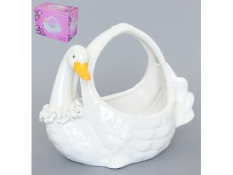 Корзинка конфетница Белый лебедь 16*8,5*11,5см
