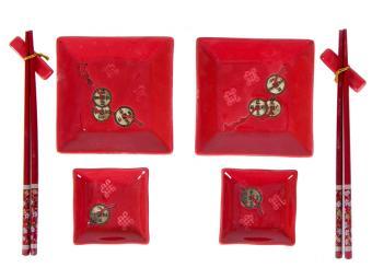 Набор для суши Монеты на красном 8пр