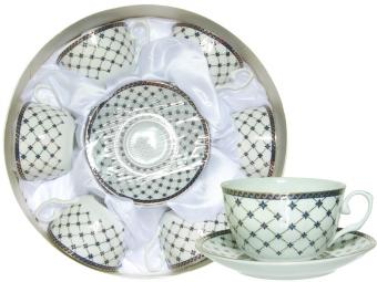 Чайный набор 12пр ''Сеточка'' в круглой коробке (51517) 12-170DB-16LX