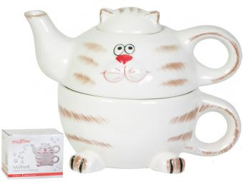 Набор Веселый кот чайник с кружкой 310мл