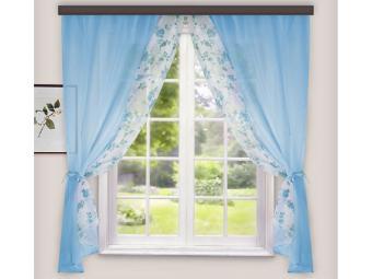 Комплект штор для кухни Арина голубой 240*160см