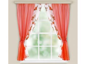 Комплект штор для кухни Арина красный 240*160см