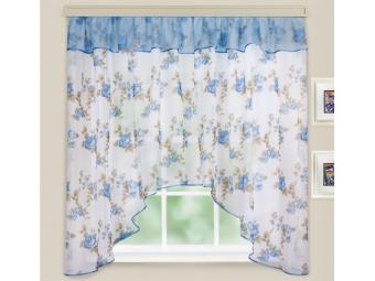 Комплект штор для кухни Кантри голубой 285*160см
