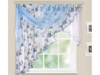 Комплект штор для кухни Мелодия 280*160см голубой левая