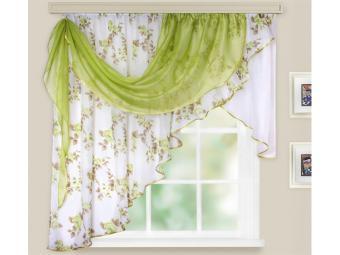 Комплект штор для кухни Мелодия 280*160см зеленый левая