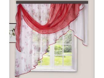 Комплект штор для кухни Мелодия 280*160см красный левая
