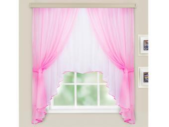 Комплект штор для кухни Шарлотта розовый-белый