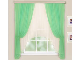 Комплект штор для кухни Шарлотта св. зеленый-молочный