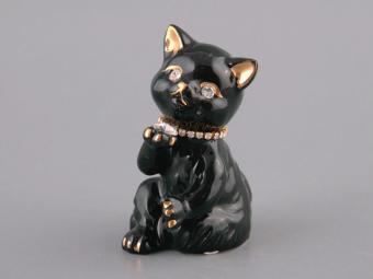 Фигурка Кошка со стразой черная 10см