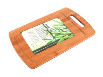 Доска разделочная бамбук 36*22см прорубленные ручк