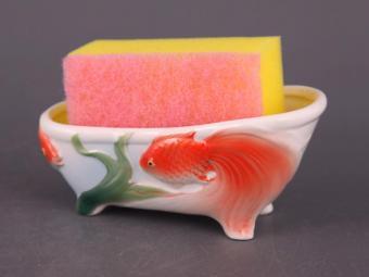 Подставка для губки с губкой Золотая рыбка 13см