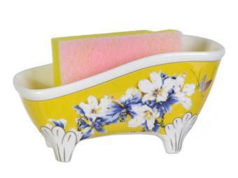 Подставка для губки Цветы на желтом
