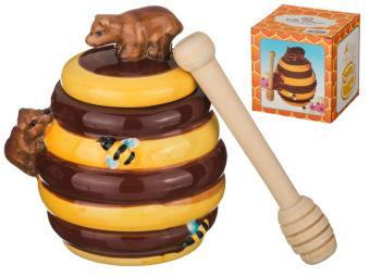 Банка для меда и деревянная палочка 500мл