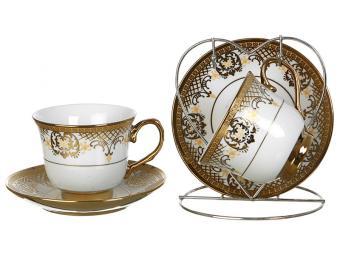 Чайный набор на 2 персоны Золотой Узор на металлической подставке