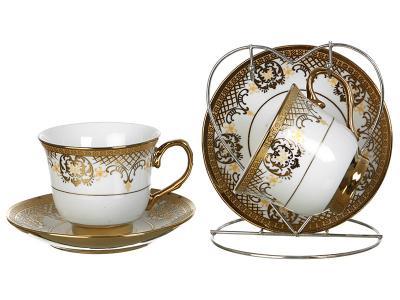 Чайный набор на 2 персоны Золотой Узор на металлической подставке Арти-М