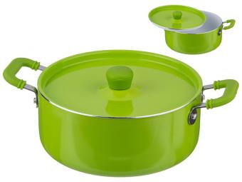 Кастрюля 1л с керамическим покрытием, зеленая
