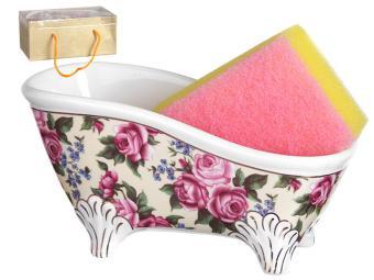 Подставка для губки с губкой Ванночка Розы