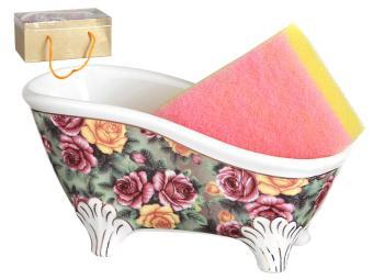 Подставка для губки с губкой Ванночка Три розы