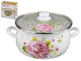 Кастрюля эмаль Розовая роза 4,5л со стеклянной крышкой