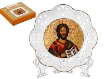 Тарелка настенная Господь Вседержитель резная 10см