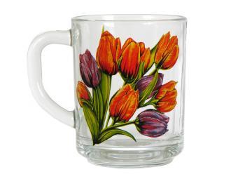 Кружка стеклянная 250мл Тюльпаны