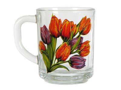 Кружка стеклянная 250мл Тюльпаны Арти-М