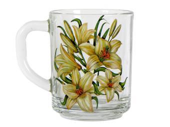 Кружка стеклянная 250мл Лилии белые