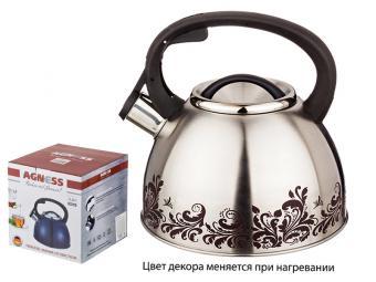 Чайник 2,5л со свистком с терморисунком Узор