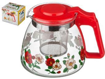 Заварочный чайник с фильтром Цветочки 900 мл