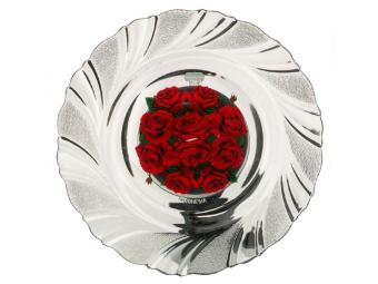 Тарелка стеклянная Розарий 18см