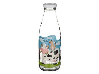 Бутылка стеклянная Love Milk 0,5л с крышкой