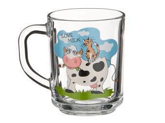 Кружка стеклянная Love Milk 250мл