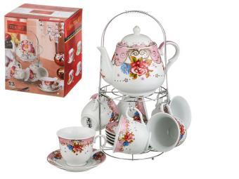 Чайный набор Аврора с чайником на метал подставке 13пр