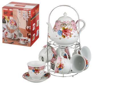 Чайный набор Аврора с чайником на метал подставке 13пр Арти-М