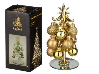 Елочка декоративная с шарами Золото 15см