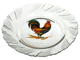 Тарелка стеклянная Петух Полтавский 18см