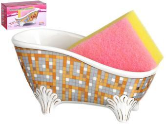 Подставка для губки с губкой ''Ванночка'' Мозаика 15,5*7*8см
