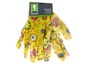 Перчатки садовые Цветные нейлоновые с ПВХ полуобливом