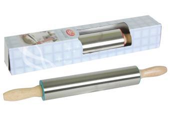 Скалка 38см нерж с деревянной ручкой