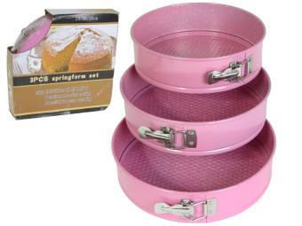Форма для торта разъемная с покрытием 3 шт 24/26/28 см розовый с точками